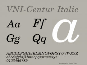 VNI-Centur Italic 1.0 Sun Apr 25 09:09:56 1993 Font Sample