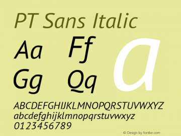 PT Sans Italic Version 1.002 Font Sample