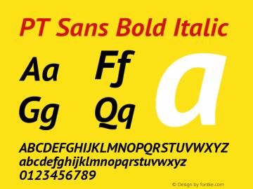 PT Sans Bold Italic Version 2.001 Font Sample