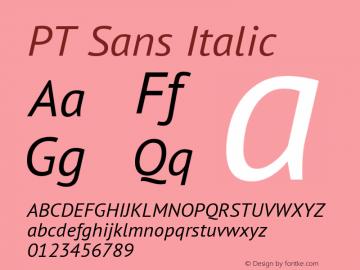 PT Sans Italic Version 2.003W OFL Font Sample