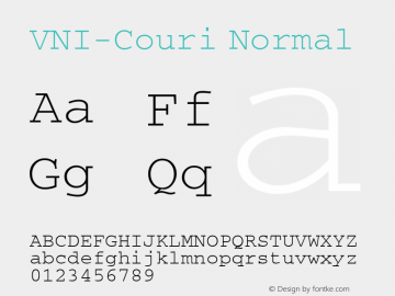 VNI-Couri Normal 1.0 Sun Apr 25 09:22:42 1993 Font Sample