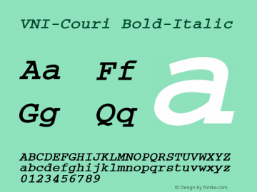 VNI-Couri Bold-Italic 1.0 Sun Apr 25 09:30:47 1993 Font Sample