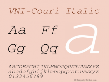 VNI-Couri Italic 1.0 Sun Apr 25 09:41:28 1993 Font Sample