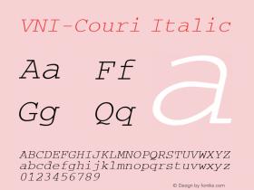 VNI-Couri Italic 1.0 Tue Jan 18 17:39:57 1994 Font Sample