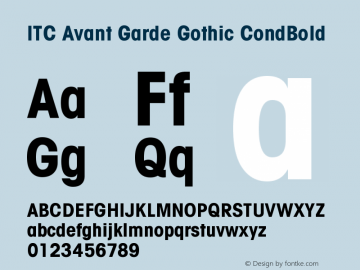 ITC Avant Garde Gothic CondBold Version 001.001 Font Sample