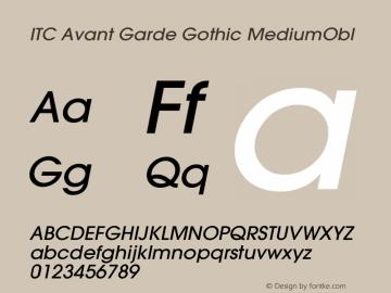 ITC Avant Garde Gothic MediumObl Version 001.000 Font Sample