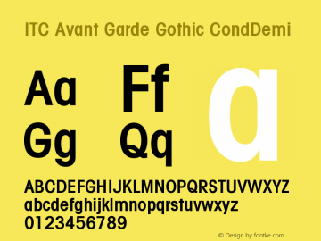 ITC Avant Garde Gothic CondDemi Version 001.001 Font Sample