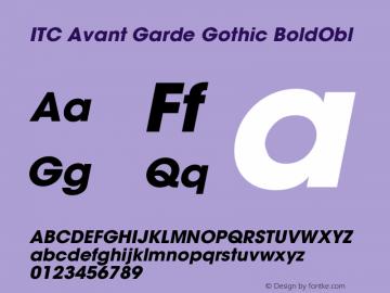ITC Avant Garde Gothic BoldObl Version 001.000 Font Sample
