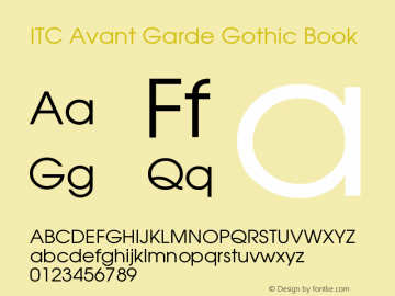 ITC Avant Garde Gothic Book Version 001.005 Font Sample