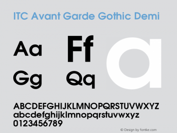 ITC Avant Garde Gothic Demi Version 001.006 Font Sample