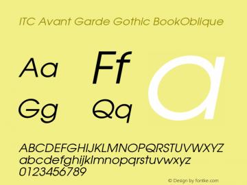 ITC Avant Garde Gothic BookOblique Version 001.005 Font Sample