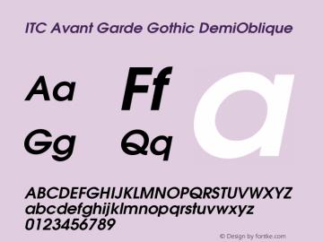 ITC Avant Garde Gothic DemiOblique Version 001.007 Font Sample
