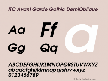ITC Avant Garde Gothic DemiOblique Version 002.000 Font Sample