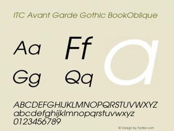 ITC Avant Garde Gothic BookOblique Version 002.000 Font Sample