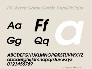ITC Avant Garde Gothic DemiOblique Version 003.001 Font Sample