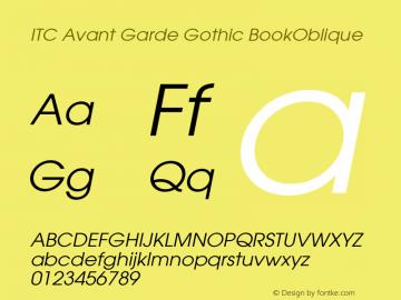 ITC Avant Garde Gothic BookOblique Version 003.001 Font Sample