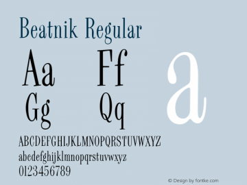 Beatnik Regular Macromedia Fontographer 4.1.5 1/18/00 Font Sample