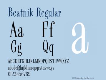Beatnik Regular V.2.0 Font Sample