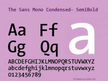 The Sans Mono Condensed- SemiBold Version 001.000 Font Sample