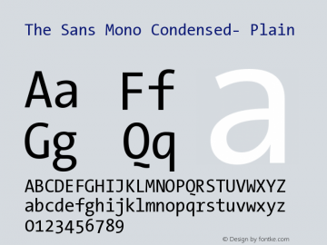 The Sans Mono Condensed- Plain Version 001.000 Font Sample