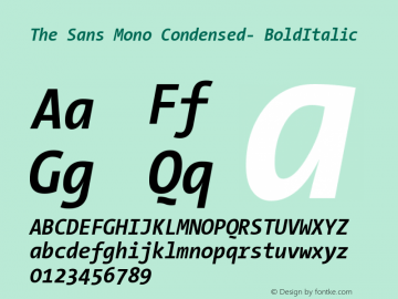 The Sans Mono Condensed- BoldItalic Version 001.000 Font Sample