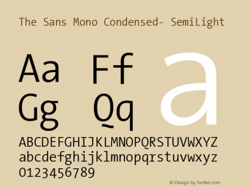 The Sans Mono Condensed- SemiLight Version 001.000 Font Sample