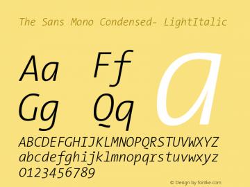 The Sans Mono Condensed- LightItalic Version 001.000 Font Sample