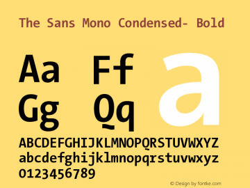 The Sans Mono Condensed- Bold Version 001.000 Font Sample