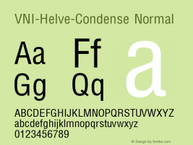 VNI-Helve-Condense Normal 1.0 Sun Apr 25 16:27:17 1993 Font Sample