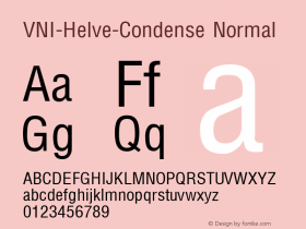 VNI-Helve-Condense Normal 1.0 Tue Jan 18 17:43:31 1994 Font Sample