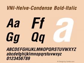 VNI-Helve-Condense Bold-Italic 1.0 Tue Jan 18 17:41:43 1994 Font Sample