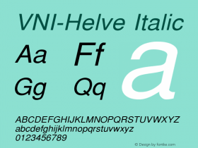 VNI-Helve Italic 1.0 Sun Apr 25 16:35:10 1993 Font Sample