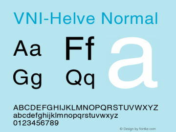 VNI-Helve Normal 1.0 Sat Jan 30 10:21:05 1993 Font Sample