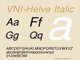 VNI-Helve Italic 1.0 Tue Jan 18 17:46:11 1994 Font Sample