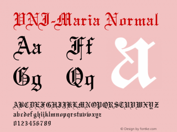 VNI-Maria Normal 1.0 Sun Apr 25 16:37:43 1993 Font Sample
