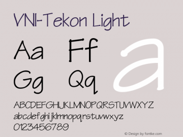 VNI-Tekon Light 1.0 Sun Apr 25 16:54:41 1993 Font Sample