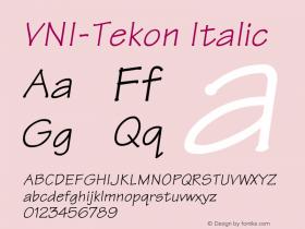 VNI-Tekon Italic 1.0 Sun Apr 25 16:57:45 1993 Font Sample