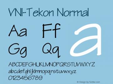 VNI-Tekon Normal 1.0 Mon Nov 29 13:26:59 1993 Font Sample