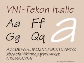 VNI-Tekon Italic 1.0 Mon Nov 29 13:24:18 1993 Font Sample