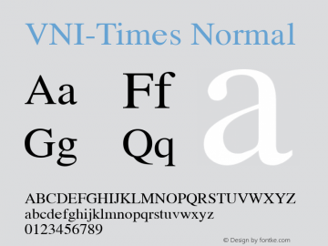 VNI-Times Normal 1.0 Thu Sep 21 13:43:06 1991 Font Sample