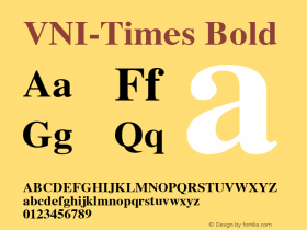 VNI-Times Bold 1.0 Mon Nov 29 13:28:33 1993 Font Sample