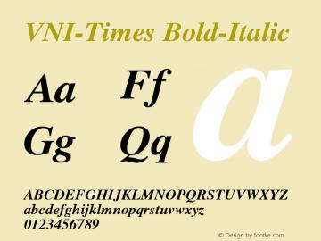VNI-Times Bold-Italic 1.0 Mon Nov 29 13:29:54 1993 Font Sample