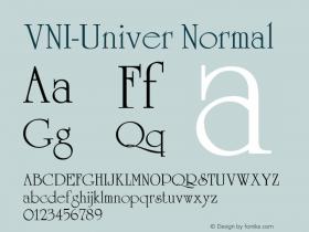 VNI-Univer Normal 1.0 Sun Apr 25 17:08:55 1993 Font Sample