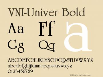 VNI-Univer Bold 1.0 Fri Feb 10 15:09:20 1995 Font Sample