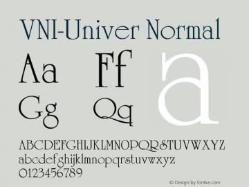 VNI-Univer Normal 1.0 Mon Nov 29 13:36:07 1993 Font Sample