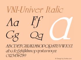VNI-Univer Italic 1.0 Fri Feb 10 15:17:49 1995 Font Sample