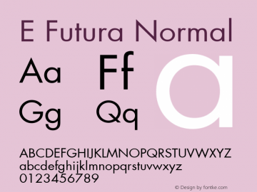 E Futura Normal 001.003 Font Sample