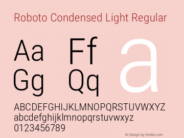 Roboto Condensed Light Regular Version 2.01404; 2016图片样张