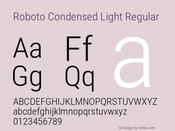 Roboto Condensed Light Regular Version 2.131图片样张