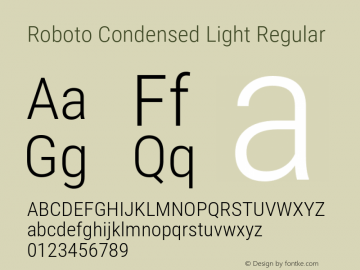 Roboto Condensed Light Regular Version 2.001047; 2015图片样张